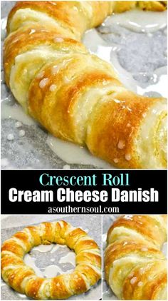 Flaky, buttery crescent rolls, filled with sweetened cream cheese, baked to perfection then drizzled with a sweet lemony glaze is the stuff dreams are made of! Crescent Roll Cream Cheese Danish is a… Breakfast And Brunch, Breakfast Dishes, Breakfast Recipes, Breakfast Ideas, Brunch Ideas, Breakfast Pastries, Breakfast Cereal, Breakfast Casserole, Brunch Recipes
