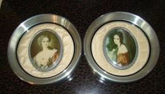 "Vintage Victorian ""Lady Dower"" & ""Lady Hamilton"" Silver Framed Cameo Portraits"