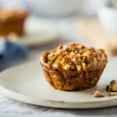 Paleo Egg Muffins with Maple Almond Sweet Potato Noodles and Bacon on Food Faith Fitness - A healthy, gluten free breakfast or snack!