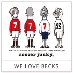 <WE LOVE BECKS> この選手に憧れてどれだけの人がキックの練習をし、そしてモヒカンにしたか。。 サッカーでも流行でも影響力のあった彼は今でも僕らのヒーローです。 文面には「彼は今まで見た中の最高のクロッサー(サイドアタッカー)です」というメッセージと共に。