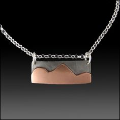 Mixed Metal Minimalist Necklace of Abstract Copper Mountains on Steel Background with Sterling Silver Chain