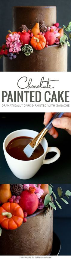 Chocolate Painted Cake   dramatically dark fall cake inspiration and how-to   by Erica OBrien for TheCakeBlog.com