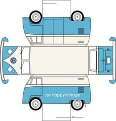 Cute VW van box - free printable template
