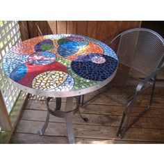 Stained Glass Mosaic Table Top Multi color colorful Circles by etsy.com   Olioboard