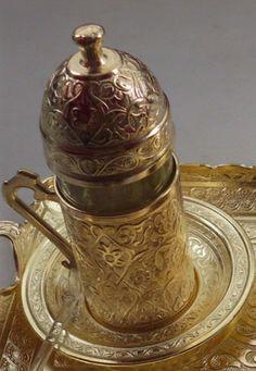 Turkish Water Cup&Saucer,Copper,Glass,Eastern,Arabic,Ottoman Vintage,Coffee.Tea