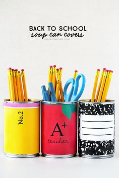 How adorable are these Back to School themed soup can covers? Great for storage in the classroom, teacher gift or homeschool work stations. Back To School Breakfast, Teacher Breakfast, Back To School Party, Welcome Back To School, Back To School Crafts, Back To School Teacher, School Parties, School Fun, School Play