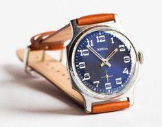 Vintage men's watch Pobeda wrist watch silver tone by SovietEra, $68.00