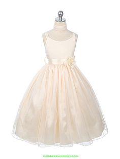Ivory Matte Satin Bodice Flower Girl Dress