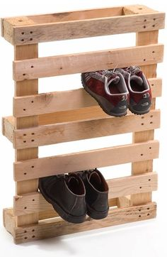 Pallet decor ~recycling them :)paint them in fun colors for your kids closet.. Walla! no more shoes thrown on the Floor!!!