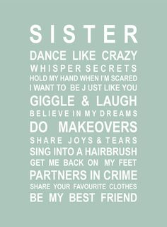 Sisters Typography poster for sisters by HarperGrace on Etsy Sister Bedroom, Girls Bedroom, Bedroom Ideas, Bedrooms, Love My Sister, Lil Sis, Sister Sister, Brother, Sister Quotes