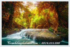 Tranh thác nước mùa thu ở trong rừng đẹp