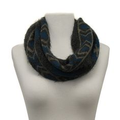 New AZTEC Southwestern Knit Fringe TURQUOISE & GRAY WOMEN'S Infinity SCARF Men's