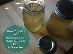 New Nostalgia: How To Make Blueberry Iced Green Tea in 5 Minutes.  Makes 2 Quarts=8 cups.  Drink this in a day and you have all the fluids you need!
