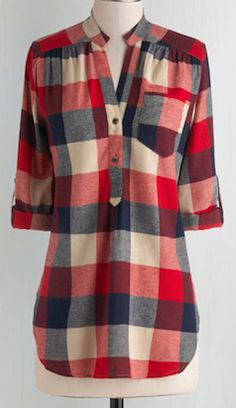 Plaid red tunic top