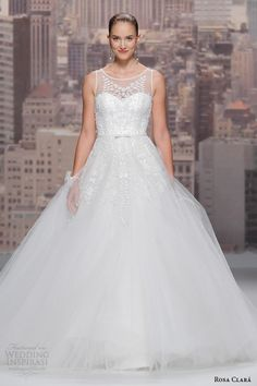 http://www.weddinginspirasi.com/2014/08/02/rosa-clara-2015-wedding-dresses/ Rosa Clara 2015 #bridal collection:Siam embroidered tulle sleeveless #wedding dress #weddingdress #weddinggown