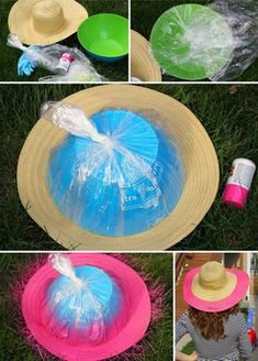 15 Best Sun Hat Refasion Tutorials for Women - Floppy Hats, Straw Hats, Diy Straw Hat, Painted Hats, Hat Tutorial, Hat Crafts, Diy Hat, Kentucky Derby Hats, Camping Crafts