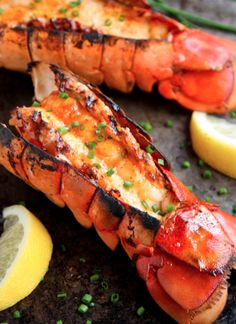 Grilled Lobster Tails with Sriracha Butter _ Now let's get down to some serious summer grilling deliciousness. Grilled lobster, anyone? Lobster Recipes, Fish Recipes, Lobster Food, Shrimp Recipes, Lobster Butter Recipe, Indian Recipes, Grill Lobster Tail Recipe, Lobster Bib, Butter Shrimp