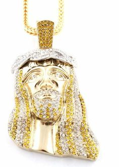 Gold with Yellow & Clear Crowned Iced Out Kanye West Jesus Piece Pendant with a 36 Inch Franco Chain Necklace JOTW. $32.95. Great Quality Jewelry!. 100% Satisfaction Guaranteed!. This pendant measures 2.25 inches from left to right and 3.75 inches from top to bottom.