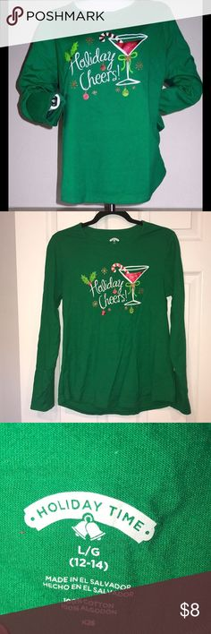 🎄🍸Holiday fun! Martini tee! 🎄🍸 Wear some fun this holiday season with this great cotton long sleeve tee! Spread some real holiday cheers! Christmas and martinis what could be better! New without tags! Holiday Time Tops Tees - Long Sleeve