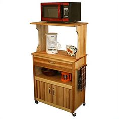 Our rustic microwave stand is a creative solution to the for Catskill craftsmen kitchen cabinets