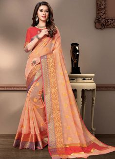 Traditional Saree Weaving Cotton Silk in Peach