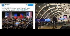 MEDIA PHOTOSHOPS HILLARY CROWD TO MAKE HER AUDIENCE LOOK BIGGER Only 171 people turn up for Clinton's rally in Florida