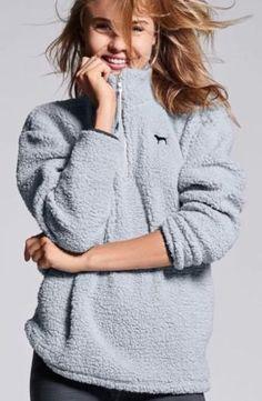 Victoria s Secret Pink Sherpa Boyfriend Quarter Zip Grey Pullover Fleece LARGE L | eBay