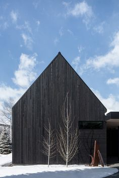 Image 6 of 35 from gallery of V-Plan House / Studio B Architecture + Interiors. Photograph by James Florio Architecture Art Design, Vernacular Architecture, Architecture Interiors, Wood Siding House, Architectural Materials, Architectural Models, Black House Exterior, Aspen Colorado, Scandinavian Home
