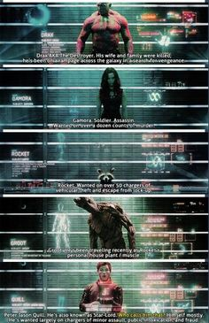 Guardians of the Galaxy: Character rap sheets.