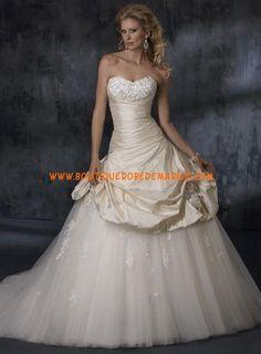 Robe de mariée de luxe à bustier jupe en organdi