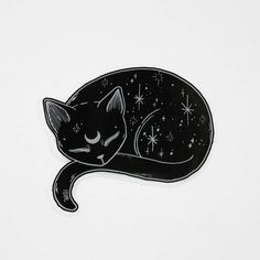 Mystical Black Cat Vinyl Sticker - s t i c k e r - Gatos Black Cat Tattoos, Animal Tattoos, Inspiration Art, Art Inspo, Animal Drawings, Art Drawings, Drawing Art, Black Cat Drawing, Moon Drawing