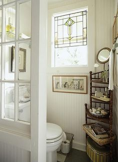 Bathroom Remodel With Window Half Walls bathroom remodel green house.Bathroom Remodel Diy Before And After. Bad Inspiration, Bathroom Inspiration, Primitive Bathrooms, Country Bathrooms, Cottage Bathrooms, Cottage Toilets, Country Baths, Primitive Kitchen, Primitive Antiques