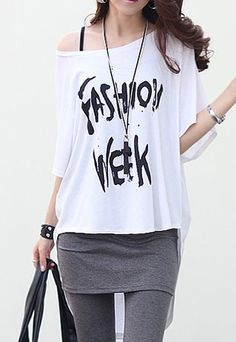 [grzxy6601720]Off Shoulder Batwing Asymmetric Loose Fit T Shirt
