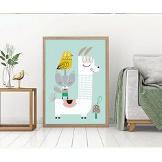 Animal Nordic Simple Style Lovely Cartoon Bird Fox Alpaca Poster Canvas Children's Bedroom Decoration Combined Poster For Gift Dessin Aztec, Canvas Poster, Canvas Wall Art, Alpaca Cartoon, Childrens Bedroom Decor, Cartoon Birds, Birth Announcement Boy, Cheap Paintings, Decoration