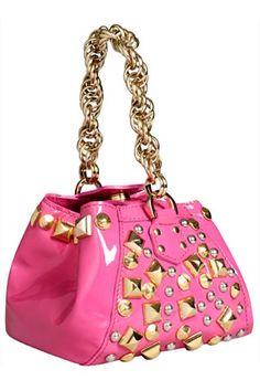 40e9f904bb Versace H M black Bag Handle Gold Purse pink Leather Handbag Studded Chain  mmm