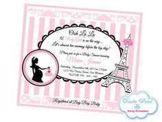 Paris baby shower invitation girl chevron pink and black paris baby shower invitation girl chevron pink and black eiffel tower printable 5x7 by goodhuedesigns baby pinterest paris baby shower filmwisefo