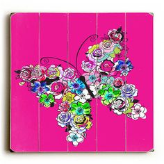 Floral Butterfly Wood Sign