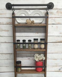 Kitchen spice rack shelf, industrial shelf, kitchen wall hanging shelf, farmhouse shelf, cottage chic, home decor, industrial pipe shelf by countrycornergoods on Etsy (null)