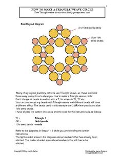 Image issue du site Web http://www.jayceepatterns.com/How_to_make_a_Triangle_weave_circle_Page_1.jpg