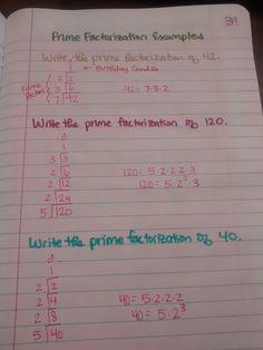 Prime Factorization - Birthday Cake Examples