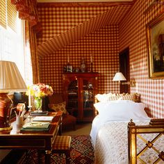 Elegant French furniture with country gingham checks. checks are one of many patterns in this cozy, warm small bedroom Small Guest Rooms, Guest Bedrooms, Beautiful Bedrooms, Beautiful Interiors, Cozy Bedroom, Bedroom Decor, Bedroom Ideas, Bedroom Inspiration, Red Rooms