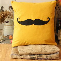 Fun Moustache Cushion/Pillow The Moustachio by RedBirdMakes, $50.00