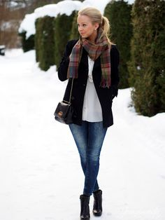Winter outfit: Mulberry scarf, black coat, blue jeans