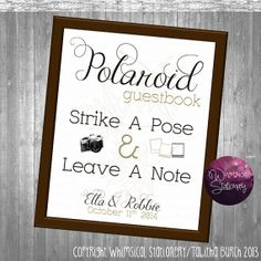 Polaroid Guest Book Sign for Wedding (Printable File Only) Strike a Pose Wedding Alternative Guest Book DIY Custom Wedding