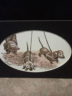 Vintage upcycled 3 little Dachshund doxie children's book print whimsical. $12.00, via Etsy.