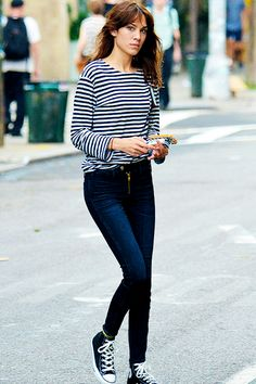 This is pretty much my uniform everyday; striped shirt, jeans and Converse. Worn here by Alexa Chung.