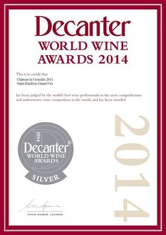 La Croizille 2011 Silver Medal at the Decanter World Wine Awards 2014