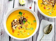 This pretty Coconut Curried Cauliflower Soup is as healthy as it is delicious. It is made with coconut milk so it is rich and creamy as well as dairy-free and vegan. It's super easy to make and is naturally paleo + Whole30 compliant, too. | theendlessmeal.com