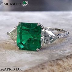 carat Emerald Engagement Ring - Emerald & Diamond Engagement Ring White Gold, Emerald Engagement Rings For Women - Radiant Emerald Emerald Earrings, Emerald Jewelry, Vintage Rings, Vintage Jewelry, Emerald Ring Gold, Emerald Cut, Beautiful Rings, Jewelry Rings, Jewlery