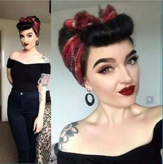 New Hair Styles Vintage Pin Up Bumper Bangs Ideas Looks Rockabilly, Mode Rockabilly, Rockabilly Makeup, Rockabilly Outfits, Rockabilly Fashion, Rockabilly Short Hair, Rockabilly Hair Tutorials, Rockabilly Hairstyle, Bandana Hairstyles